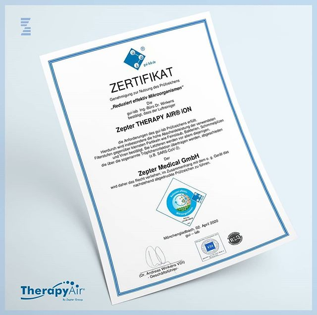 therapy air ion zepter sertifikat eliminise korona virus SARS-CoV-2